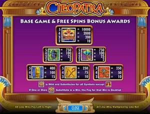 cleopatra-gewinntabelle