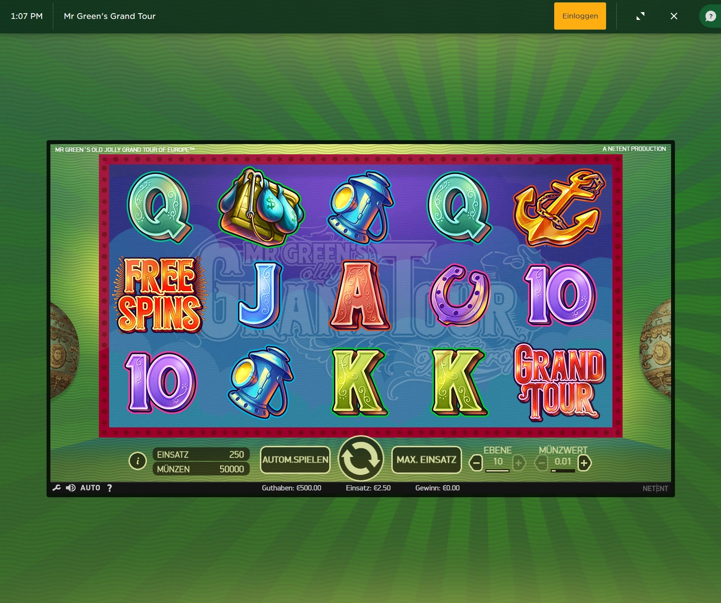 Spiele Mr. GreenS Grand Tour Slots - Video Slots Online