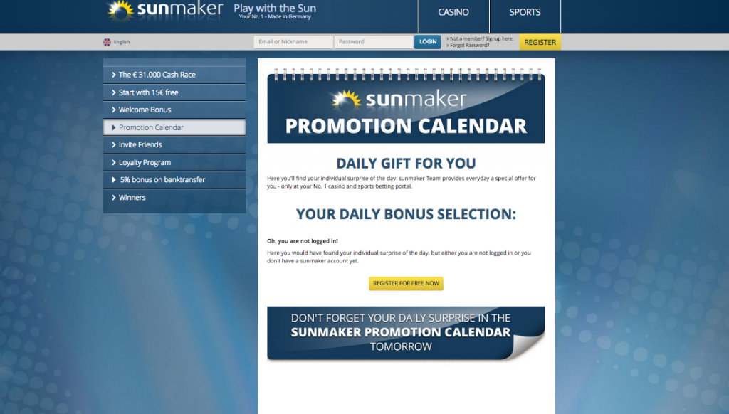promotion calendar sunmaker